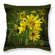 Yellow Wild Flowers Throw Pillow
