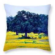 Yellow Wildflowers After Sunrise Throw Pillow