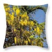 Yellow Wisteria Blooms Throw Pillow