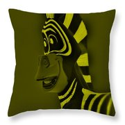 Yellow Zebra Throw Pillow