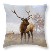 Yellowstone Bull Elk Throw Pillow
