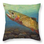 Yellowstone Cut Takes A Salmon Fly Throw Pillow