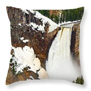 Yellowstone Falls From Lookout Point. Throw Pillow