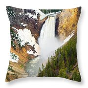 Yellowstone Falls In Spring Time Throw Pillow