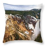 Yellowstone Falls Panorama Throw Pillow