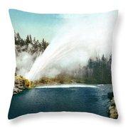 Yellowstone Geyser, C1905 Throw Pillow