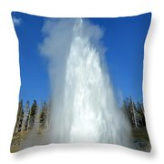 Yellowstone Grand Geyser Shooting Up High Throw Pillow