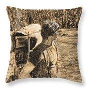 Yellowstone Hike Throw Pillow