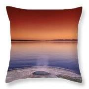 Yellowstone Lake And Geyser Throw Pillow