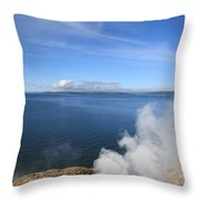 Yellowstone Lake And Geysers Throw Pillow