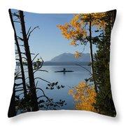 Yellowstone Lake At Dusk Throw Pillow