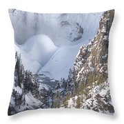 Yellowstone -  Lower Falls In Winter Throw Pillow