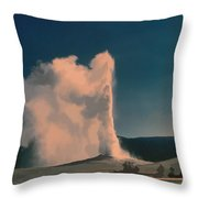 Yellowstone -- Old Faithful Vintage Throw Pillow