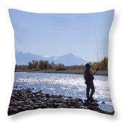 Yellowstone River Fly Fishing Throw Pillow