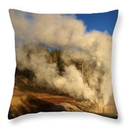 Yellowstone Riverside Eruption Throw Pillow