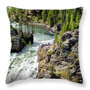 Yellowstone - Upper Falls Throw Pillow