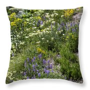 Yellowstone Wildflowers Throw Pillow