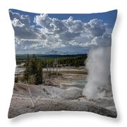 Yellowstone's Norris Geyser Basin Throw Pillow