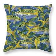Yellowtail Frenzy In0023 Throw Pillow