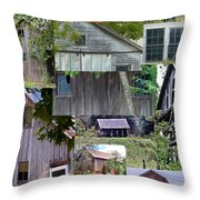 Yesterday Barns Collage Throw Pillow