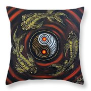 Yin Yang - Koi Fish Throw Pillow