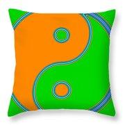 Yin Yang Orange Green Pop Art Throw Pillow