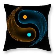 Yin Yang Water Splash Symbol  Throw Pillow