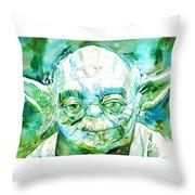 Yoda Watercolor Portrait Throw Pillow