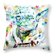 Yoda Watercolor Portrait.1 Throw Pillow