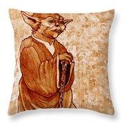 Yoda Wisdom Original Coffee Painting Throw Pillow