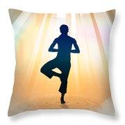 Yoga Balance Throw Pillow by Bedros Awak