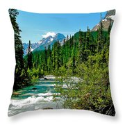 Yoho River In Yoho Np-bc Throw Pillow