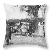 Yokut Indian Homes Throw Pillow