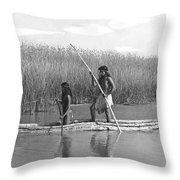 Yokuts Poling Tule Boats Throw Pillow