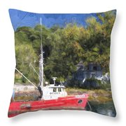 York Harbor Maine Painterly Effect Throw Pillow