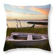 Yorktown Beach Sunset Throw Pillow