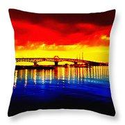 Yorktown Bridge Sunset Throw Pillow by Bill Cannon