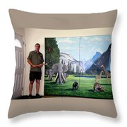 Yosemite Dreams Mural On Doors Throw Pillow