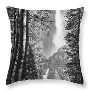 Yosemite Falls Black And White Throw Pillow