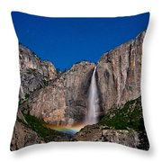 Yosemite Falls Moonbow Throw Pillow