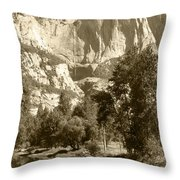 Yosemite Falls Sepia Throw Pillow