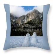 Yosemite Falls Snowmen Throw Pillow