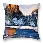 Yosemite In Winter I Throw Pillow
