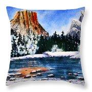 Yosemite In Winter II Throw Pillow