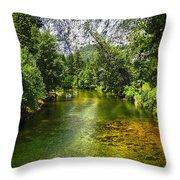 Yosemite Merced River Rafting Throw Pillow