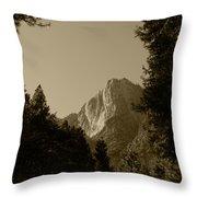 Yosemite Park Sepia Throw Pillow