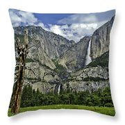 Yosemite Upper And Lower Falls Throw Pillow
