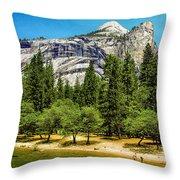 Yosemite Valley Along Yosemite River Beach Throw Pillow