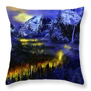 Yosemite Valley At Night Throw Pillow
