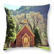 Yosemite Valley Chapel Lomo Throw Pillow